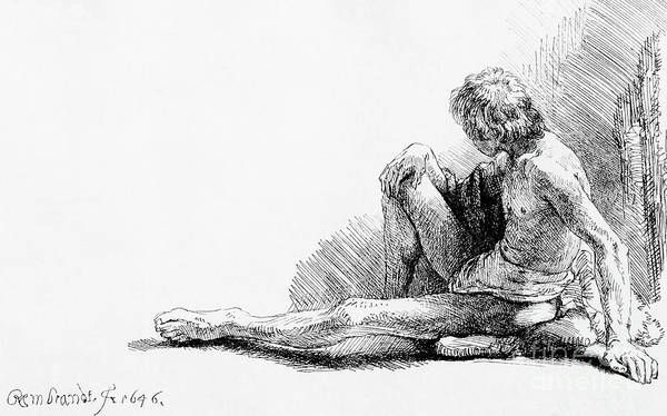 Wall Art - Drawing - Man Seated On The Ground, 1646 by Rembrandt