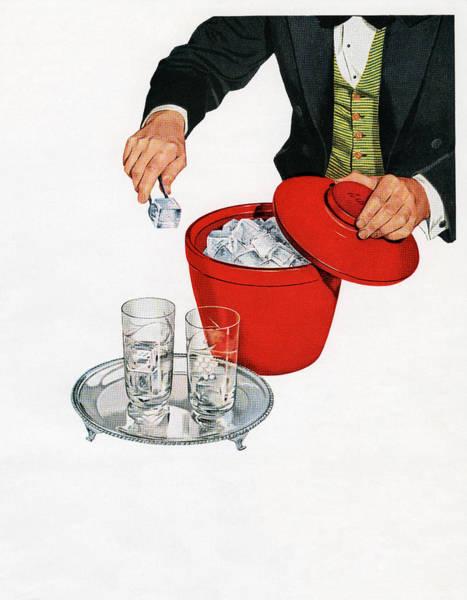 Men Digital Art - Man Serving Ice From Bucket by Graphicaartis