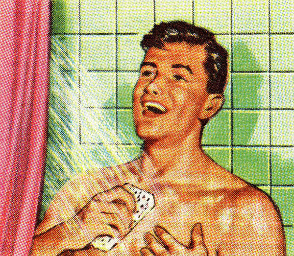 Front Room Digital Art - Man Singing In The Shower by Csa Images