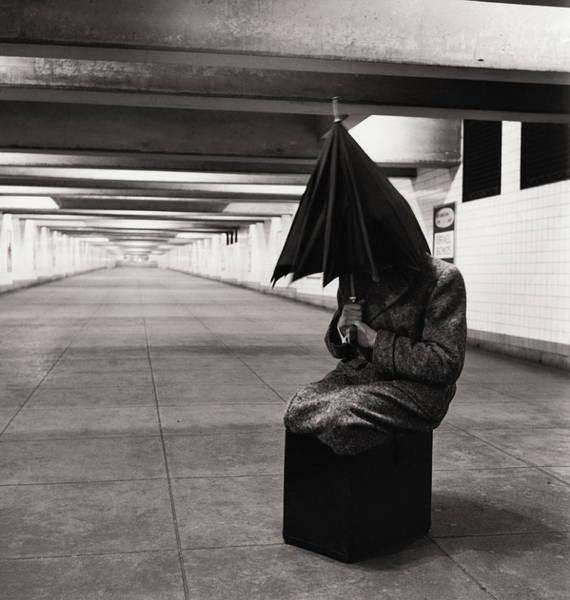Photograph - Man Sitting Inside Subway Station, 1950 by Alfred Gescheidt