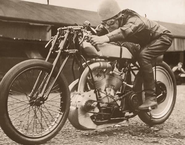 Crash Helmet Photograph - Man Sitting On Vintage Motorcycle B&w by Fpg