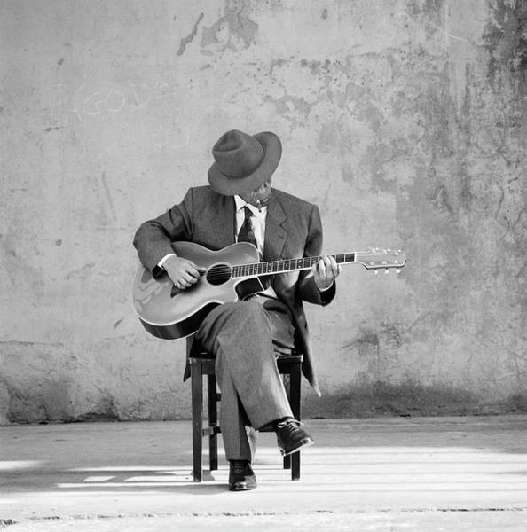Cigar Photograph - Man Sitting, Playing Guitar B&w by Robin Lynne Gibson