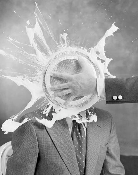 Dress Photograph - Man Smashing Cake On Other Mans Face by Tom Kelley Archive