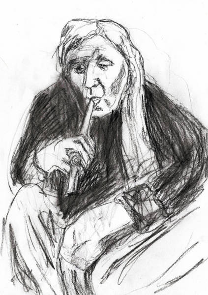 Drawing - Man Smoking A Pipe by Artist Dot