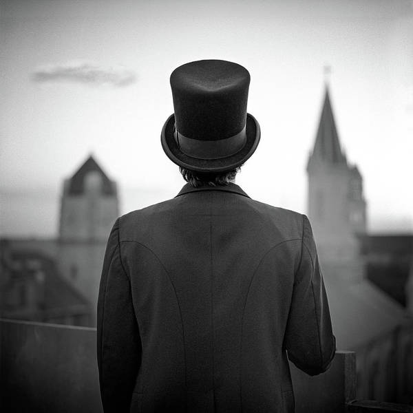 Hat Photograph - Man Standing Front Of Cathedral by Eddie O'bryan