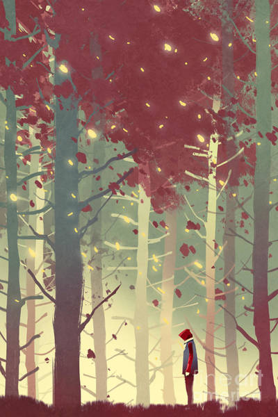 Wall Art - Digital Art - Man Standing In Beautiful Forest With by Tithi Luadthong