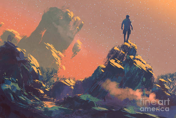 Wall Art - Digital Art - Man Standing On Top Of The Hill by Tithi Luadthong