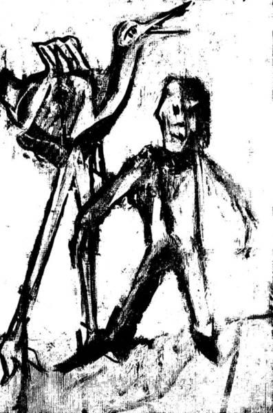 Digital Art - Man Standing With A Bird by Artist Dot