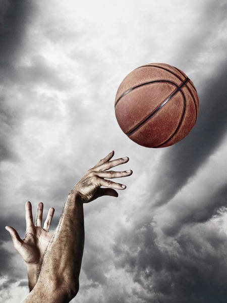 Human Hand Photograph - Man Throwing Basketball In Air by Daniel Grizelj