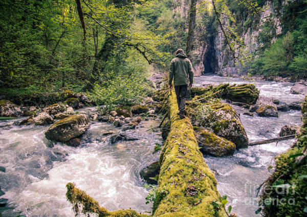 Wall Art - Photograph - Man Traveler Crossing River On Log by Everst