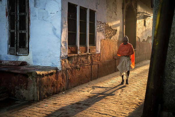 Wall Art - Photograph - Man Walking Down A Vrindavan Alley by Ruben Vicente