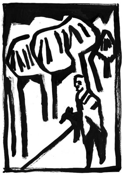 Painting - Man Walking His Dog by Artist Dot