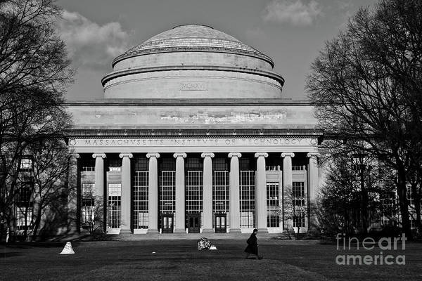Photograph - Man Walking In Front Of The Main Building Of Mit, Massachusetts Institute Of Technology by Joaquin Corbalan