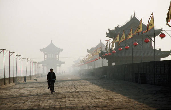 Xi Photograph - Man Walking On Ancient Wall Near North by Greg  Elms