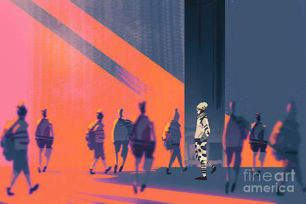 Wall Art - Digital Art - Man Walking To Different Way,unique by Tithi Luadthong