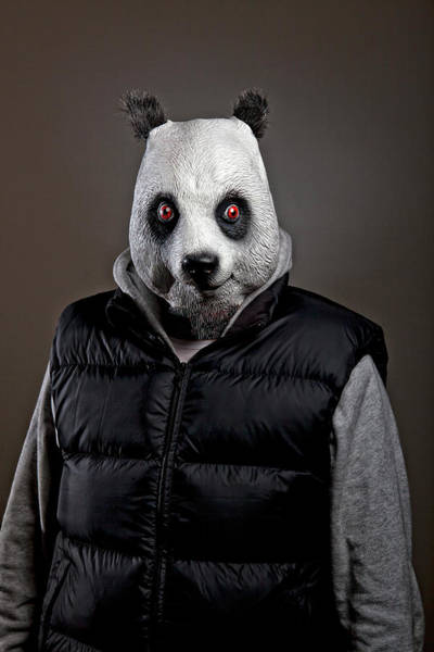 Adult Humor Photograph - Man Wearing Panda Mask by Tdubphoto