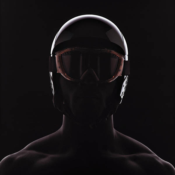 Crash Helmet Photograph - Man Wearing Ski Helmet And Goggles by Symphonie