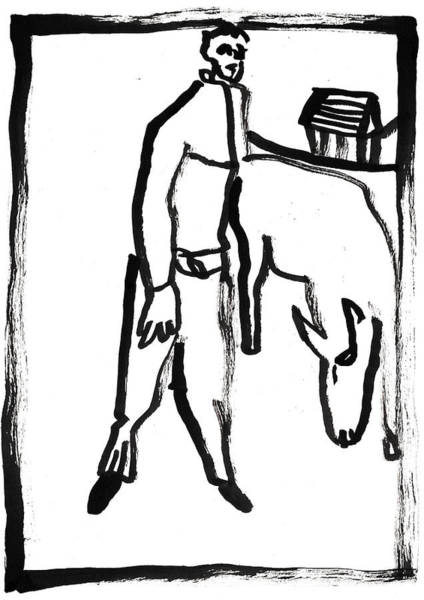 Painting - Man With A Dog by Artist Dot