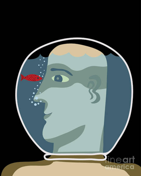 Wall Art - Digital Art - Man With A Head Inside An Aquarium With by Complot