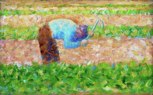 Wall Art - Painting - Man With A Hoe - Digital Remastered Edition by Georges Seurat