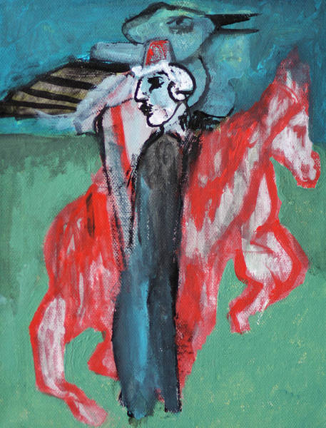 Painting - Man With A Horse And A Bird by Artist Dot