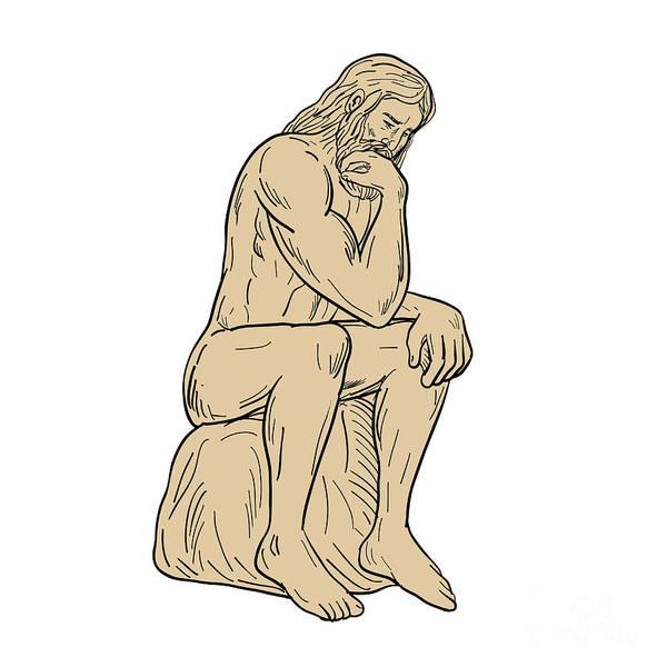 Wall Art - Digital Art - Man With Beard Sitting Thinking Drawing by Aloysius Patrimonio