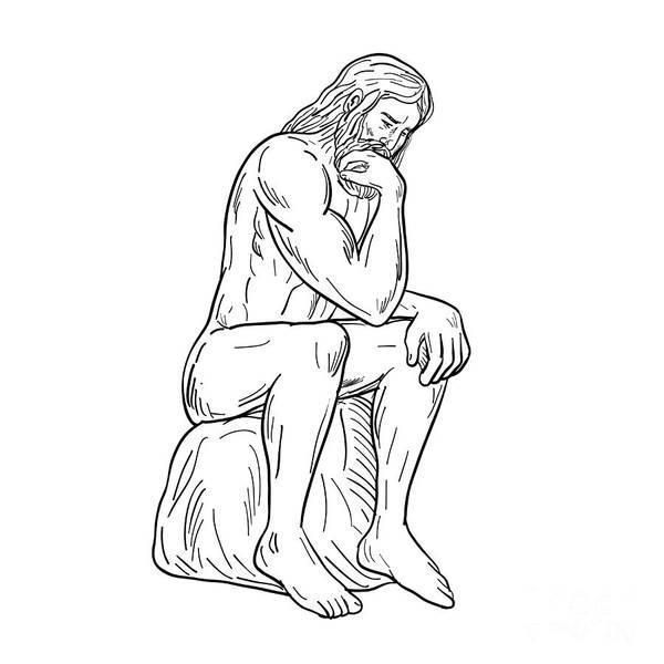 Wall Art - Digital Art - Man With Beard Sitting Thinking Drawing Black And White by Aloysius Patrimonio