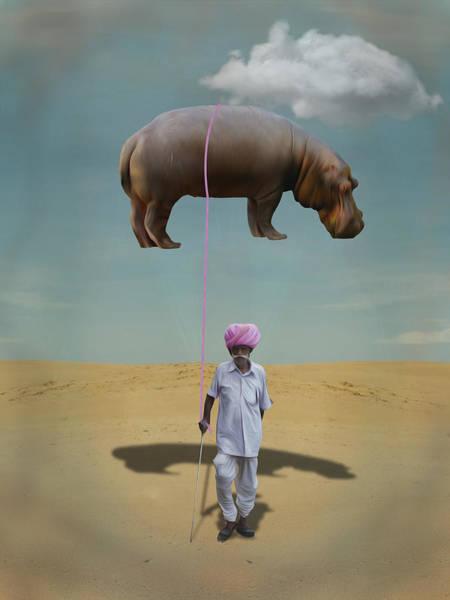 Prop Digital Art - Man With Flying Hippopotamus In Desert by Keshava Shukla