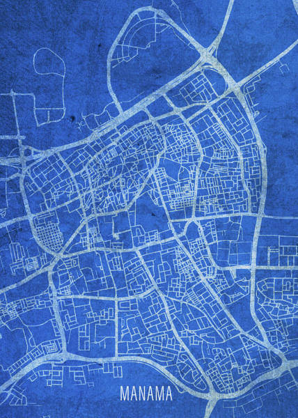 Wall Art - Mixed Media - Manama Bahrain City Street Map Blueprints by Design Turnpike