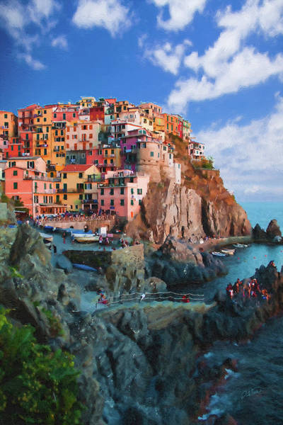 Painting - Manarola Italy On The Cliffs Of Cinque Terre by Dean Wittle