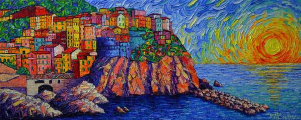 Painting - Manarola Sunset Cinque Terre Italy Modern Impressionism Palette Knife Painting By Ana Maria Edulescu by Ana Maria Edulescu
