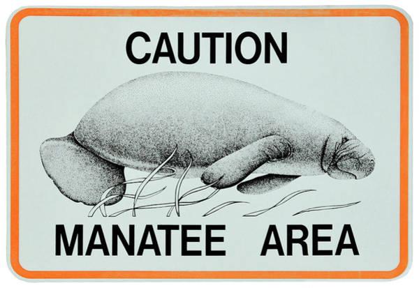 Wall Art - Photograph - Manatee Area Alert Sign - Florida by Daniel Hagerman