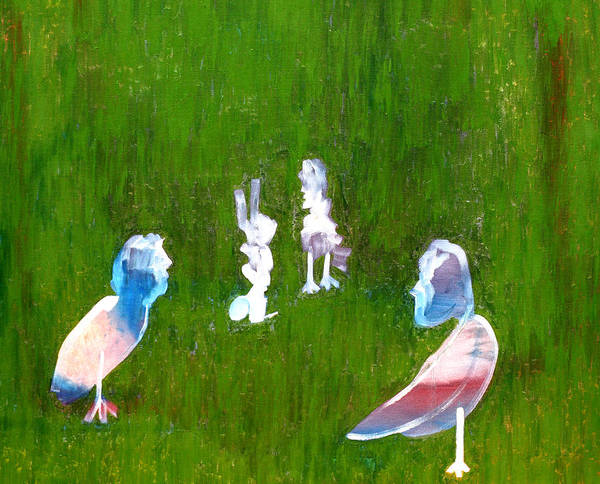 Painting - Manbird Discussions With Rabbit by Artist Dot