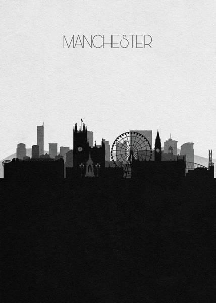 Greater Manchester Wall Art - Digital Art - Manchester Cityscape Art by Inspirowl Design