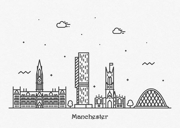 Manchester City Wall Art - Drawing - Manchester Cityscape Travel Poster by Inspirowl Design