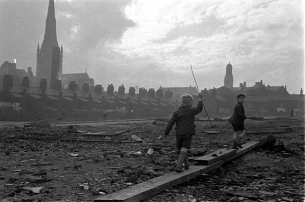 Greater Manchester Wall Art - Photograph - Manchester, England. 1955. Two Children by Popperfoto