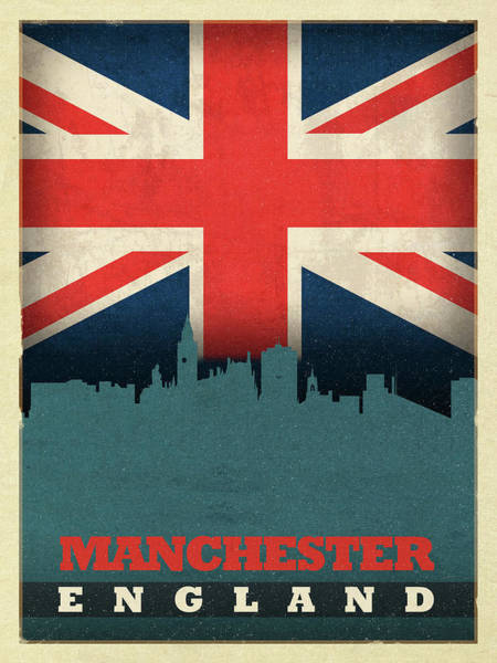Wall Art - Mixed Media - Manchester England City Skyline Flag by Design Turnpike
