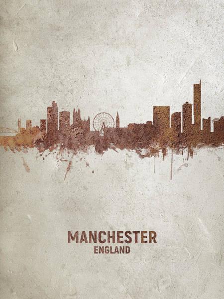 Wall Art - Digital Art - Manchester England Rust Skyline by Michael Tompsett