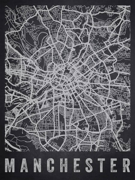 Manchester Digital Art - Manchester England Street Map - Charcoal by Aged Pixel