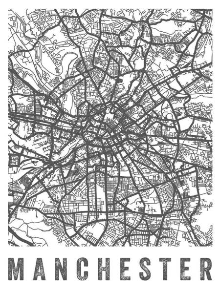 Manchester City Wall Art - Digital Art - Manchester England Street Map - White by Aged Pixel