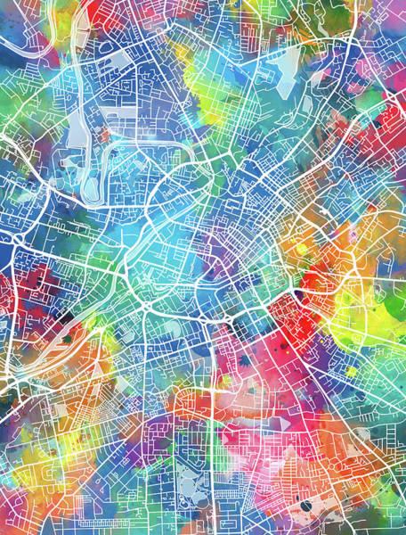 Manchester Digital Art - Manchester Map Watercolor by Bekim Art
