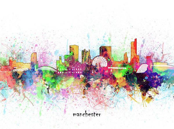 Wall Art - Digital Art - Manchester Skyline Artistic by Bekim M