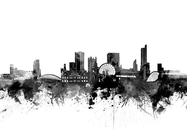 Wall Art - Digital Art - Manchester Skyline Bw by Bekim M