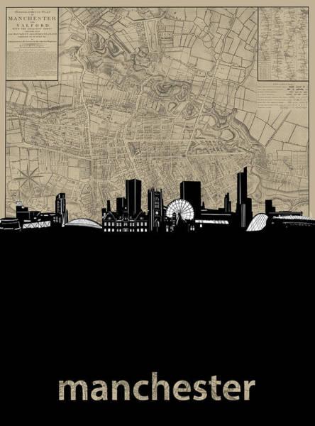 Manchester Digital Art - Manchester Skyline Map by Bekim Art