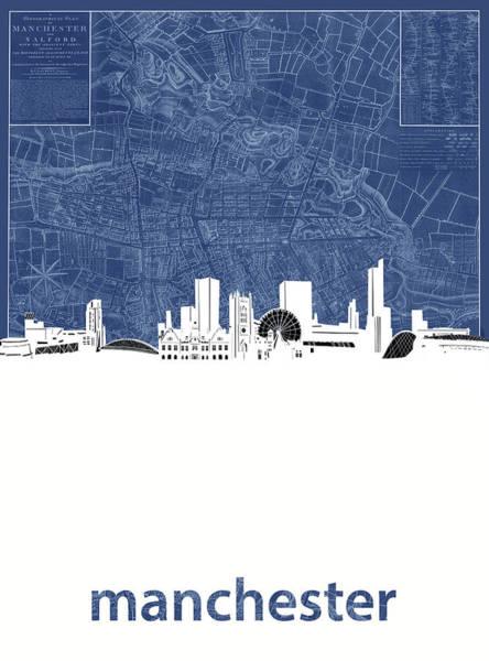 Manchester Skyline Wall Art - Digital Art - Manchester Skyline Map Blue by Bekim Art