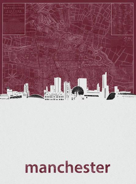 Manchester Digital Art - Manchester Skyline Map Red by Bekim Art