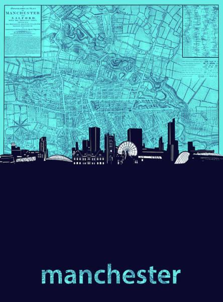 Manchester Skyline Wall Art - Digital Art - Manchester Skyline Map Turquoise by Bekim Art