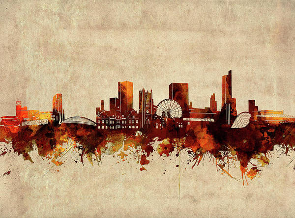 Wall Art - Digital Art - Manchester Skyline Sepia by Bekim M