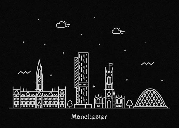 Manchester City Wall Art - Drawing - Manchester Skyline Travel Poster by Inspirowl Design