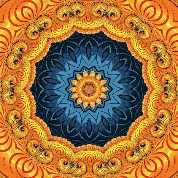 Digital Art - Mandala Art Golden And Blue by Matthias Hauser